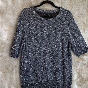 Ann Taylor short sleeved black white sweater